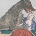 Une femme attaquée par la Bête. Portion de la peinture intitulée : « Représentation de la Bête féroce nommée hiene »,