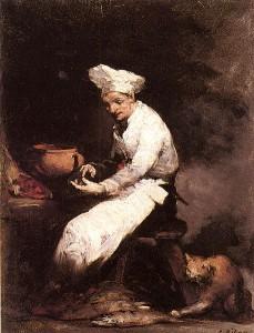 Le Cuisinier et le chat par Augustin Théodule Ribot.