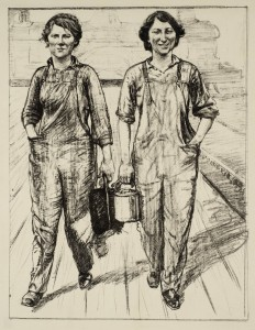 Femmes au travail - source http://www.tate.org.uk/art/artworks/hartrick-womens-work-on-the-railway-engine-and-carriage-cleaners-p03032