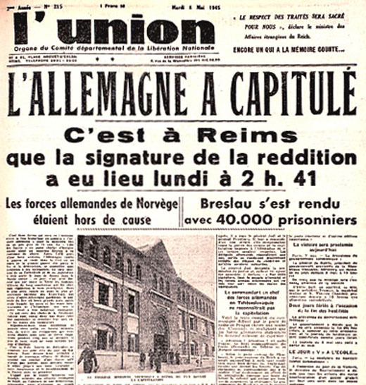 8 mai 45: capitulation de l'allemagne