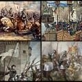 En haut à gauche la bataille de Crécy, la bataille de la Rochelle, la Bataille d'Azincourt et Jeanne d'Arc.