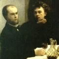 """Paul Verlaine et Arthur Rimbaud, détail du """"Coin de table"""" de Fantin-Latour."""