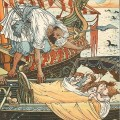 Les enfants de la princesse Belle-Étoile et sa sœur récupérés par un corsaire, par Walter Crane