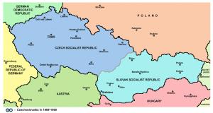 Carte de la Tchécoslovaquie