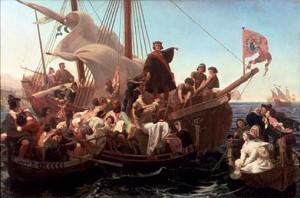 Christophe Colomb sur son bateau Santa Maria