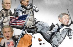 Carricature avec des leaders du néo-conservatisme