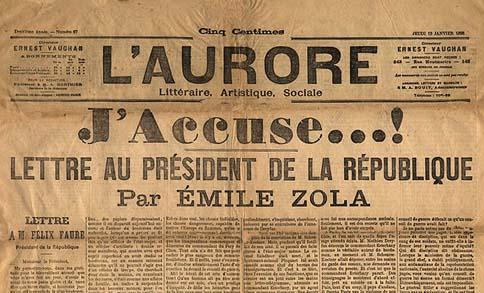 Une du journal l'Aurore du 13 Janvier 1898