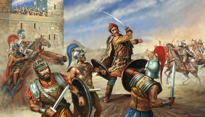 Attila lors d'une bataille contre Rome.