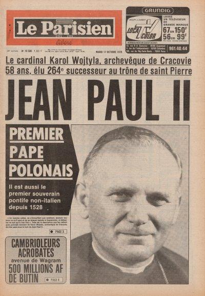 Une du Parisien datant du 16 octobre 1978
