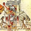 Codex Mendoza illustrant les deux partis au débat : l'architecture des Aztèques (rationalité des indigènes indiens) opposée à leur pratique courante des sacrifices humains (indigènes barbares). Source: Wikipedia