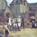 Les révoltés du Fouesnant ramenés par la garde nationale de Quimper en 1792, peinture de Jules Girardet, xixe siècle.