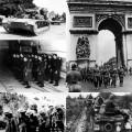De gauche à droite à partir d'en haut : Panzer IV;  soldats allemands défilant sur l'Arc de Triomphe ; colonne de chars français à Sedan; prisonniers français et britanniques; soldats français lors d'une dans les fortifications de la ligne Maginot. Source image: wikipedia.org