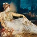 Dessin de Charlotte Wolter comme Messalina par Hans Makart