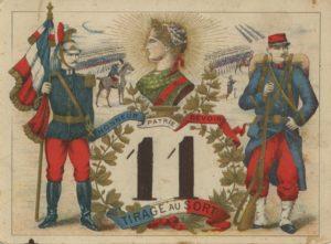 Carton utilisé pour le tirage au sort du service militaire en 1905